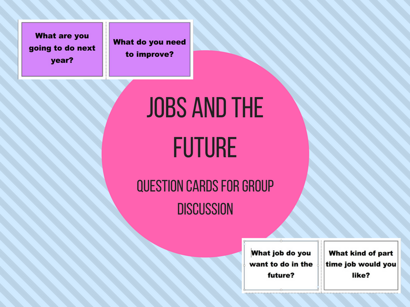 Jobs and Future Discussion Question Cards  - Tutorial or Personal and Social Development Activity