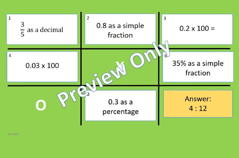 Fractions Decimals Percentages Noughts and Crosses Powerpoint Game 1
