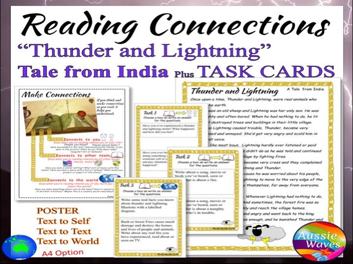"Myths India Traditional Tale ""Thunder and Lightning"" Text & Task Cards Close Questions"