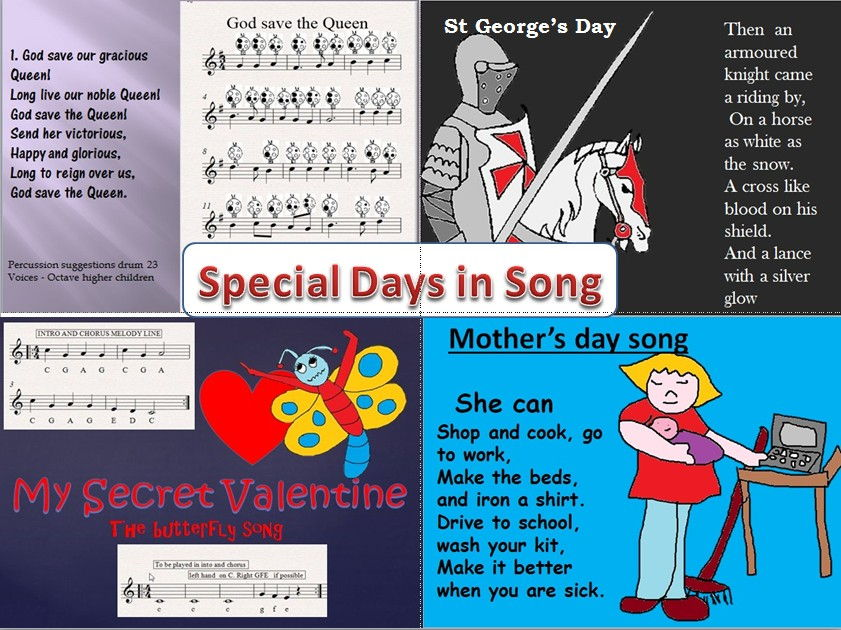 Special Days in song. Video,PPT ,Mp3, percussion.