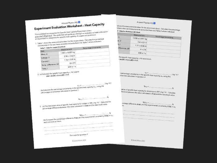 Evaluation worksheet for Specific Heat Capactiy experiment