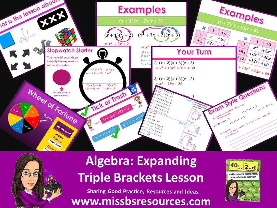 Expanding Triple (Three) Brackets Full lesson & Answers, Quizzes, Differentiated Worksheet & Exam Qs