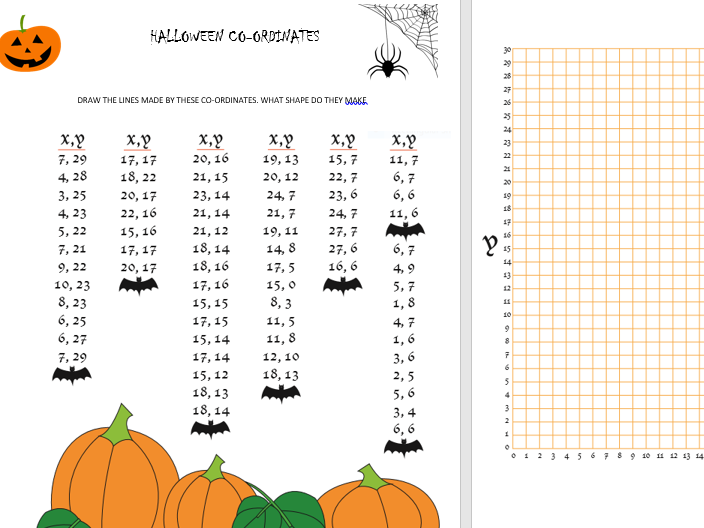Maths- Halloween Co-ordinates