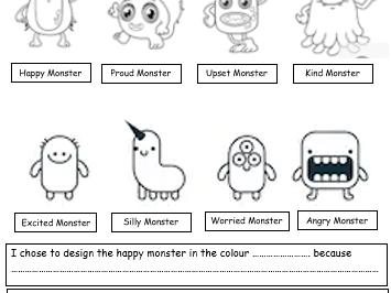 EYFS KS1 Emotion monster well being activity identifying feelings