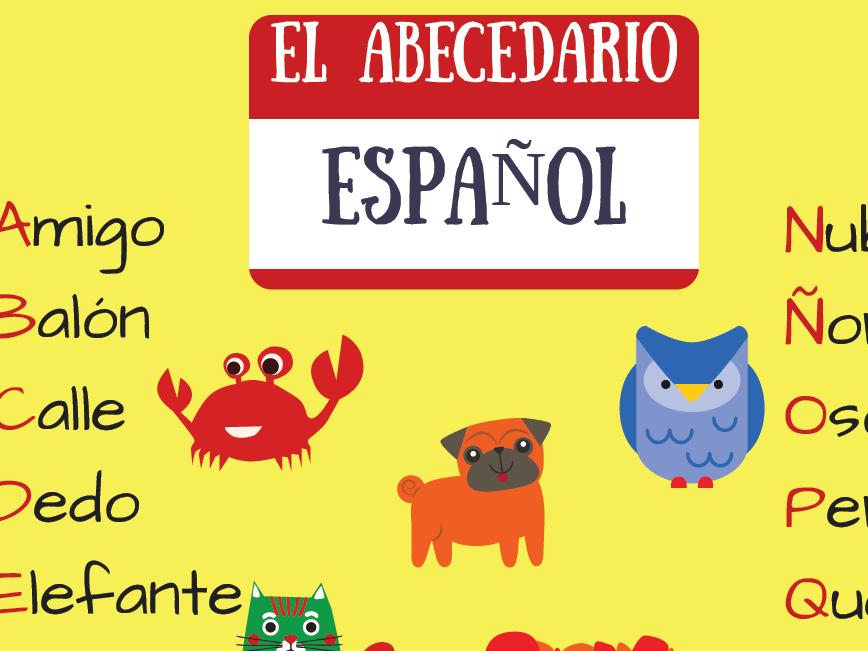 El abecedario español - póster. Yellow