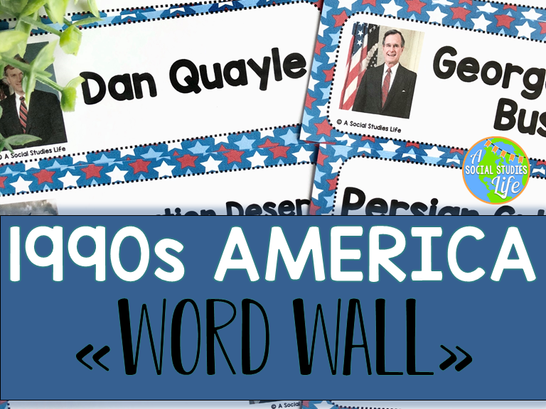 1990s America Word Wall without definitions