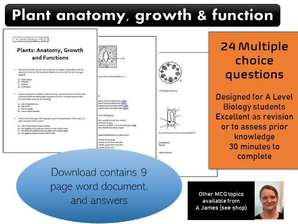 A Level Biology Plants Anatomy Growth Function MCQ