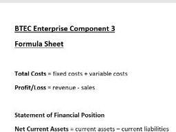 BTEC Enterprise Component 3 Formula