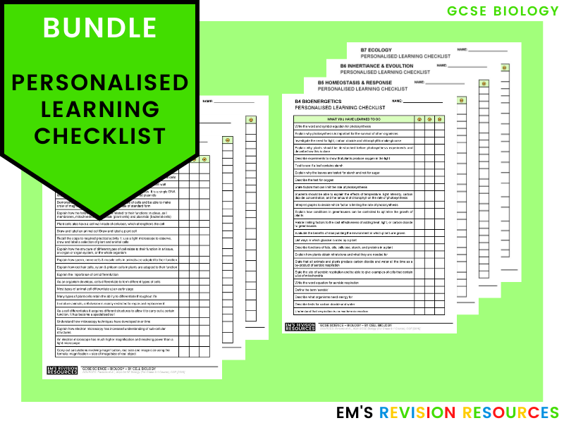 GCSE Biology [Personal Learning Checklist] *EDITABLE* (Bundle)