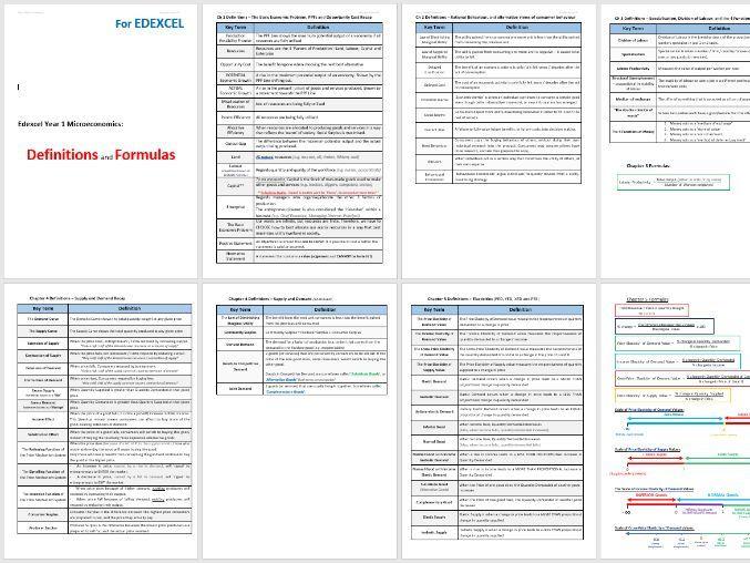 EDEXCEL Key Terms Definitions List - Year 1 Micro-economics