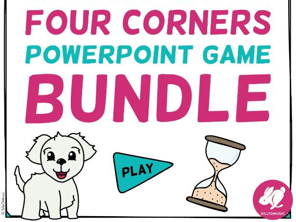 Musical Four Corners PowerPoint Game Bundle, 4 Corners Music
