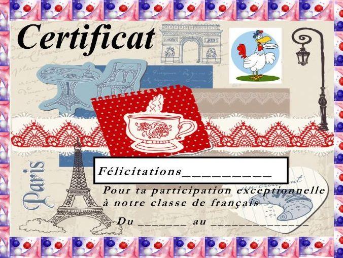 General French certificate 10/ Certificat de francais 10