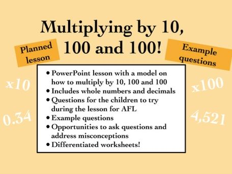 Mathematics: Multiplying by 10, 100 and 1000 (KS1 and KS2)