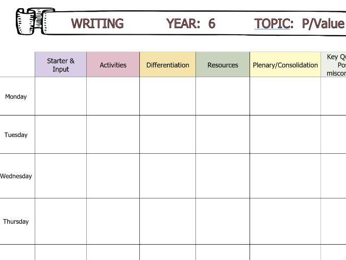 Writing Plan Template Editable