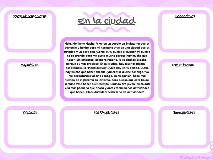 En la ciudad- Year 7. Analyse a text