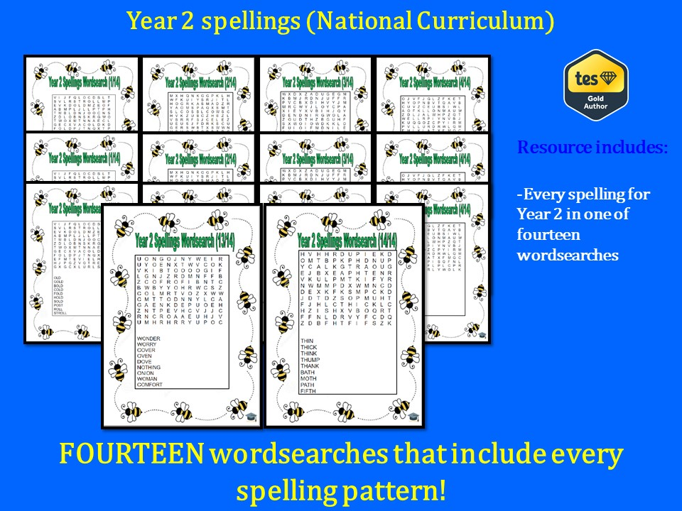 Year 2 spelling list wordsearches