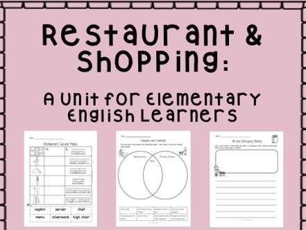 Restaurants & Shopping - elementary ESL unit!