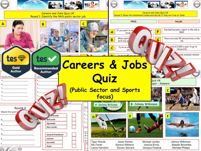 Careers and Jobs Quiz  (Careers Quiz) - 7 rounds and 40+Qs' .Summer term Quiz.  End of term Quiz.