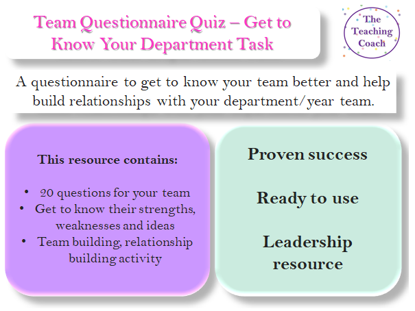 Team Questionnaire - Get to Know Your Team Department - Leadership Relationship Building