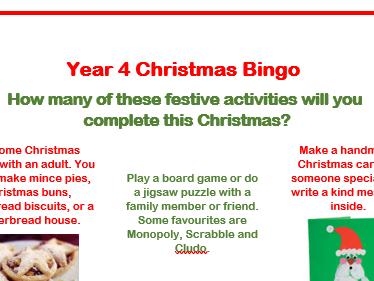 Creative Christmas Bingo Homework