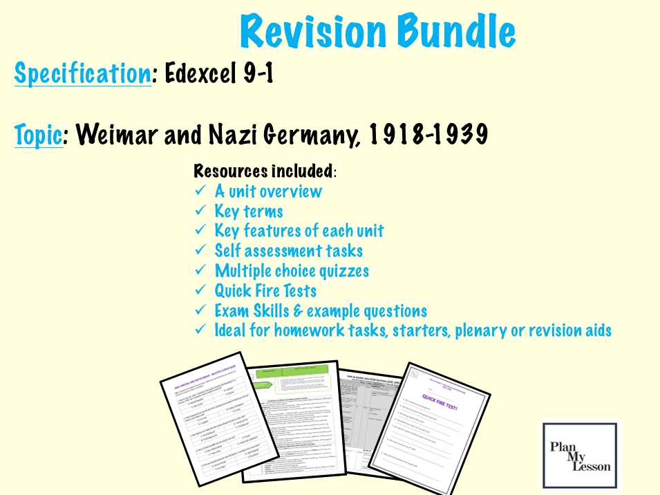 Edexcel 9-1 Weimar & Nazi Germany, 1918-1939  revision resource pack