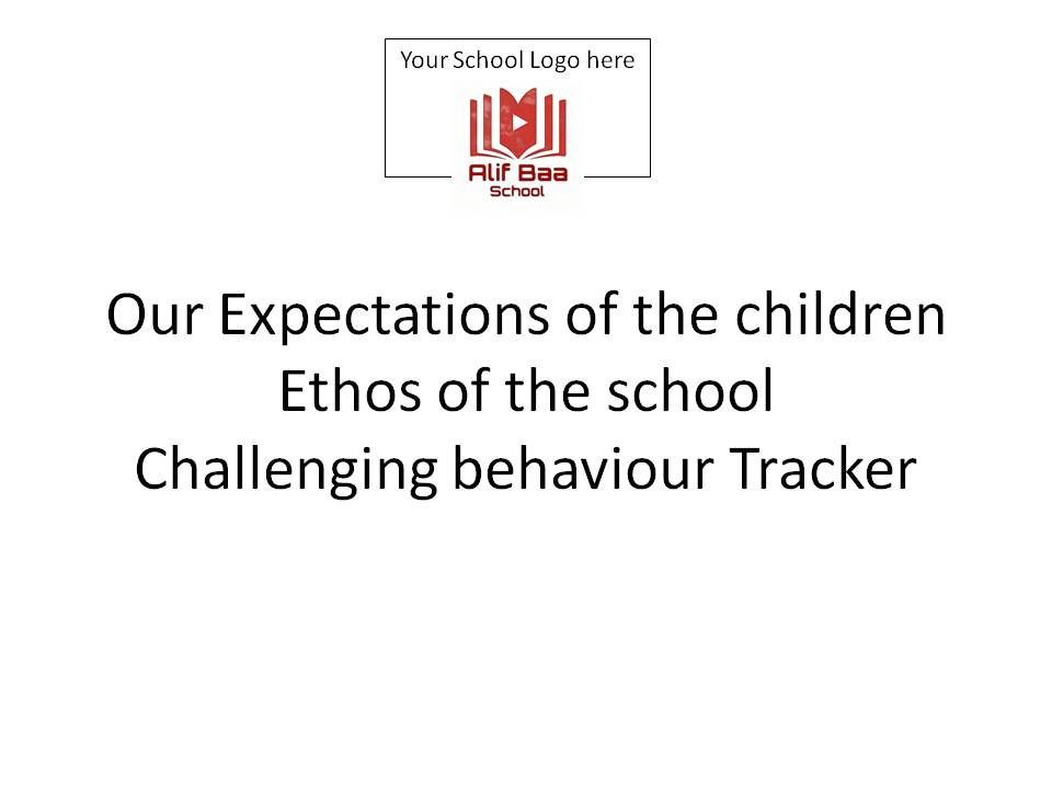 Expectations of the children, Ethos of the school and Challenging behaviour tracker