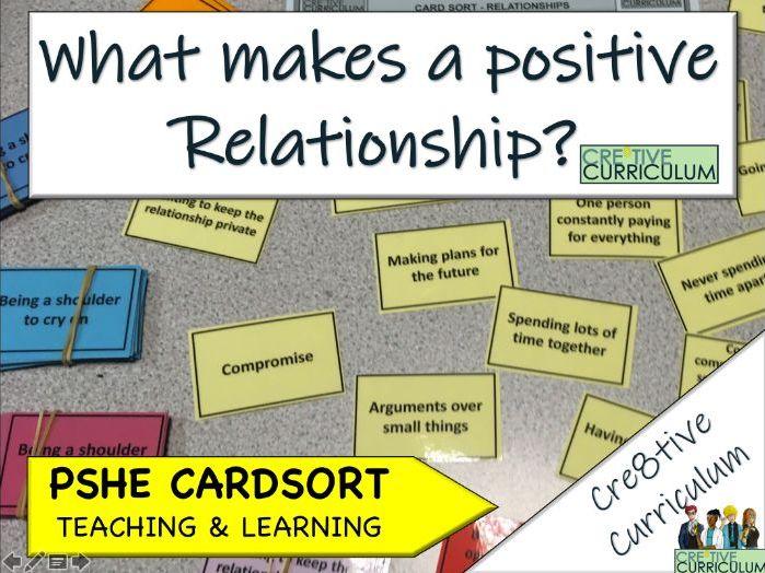 Positive Relationship Card Sort PSHE