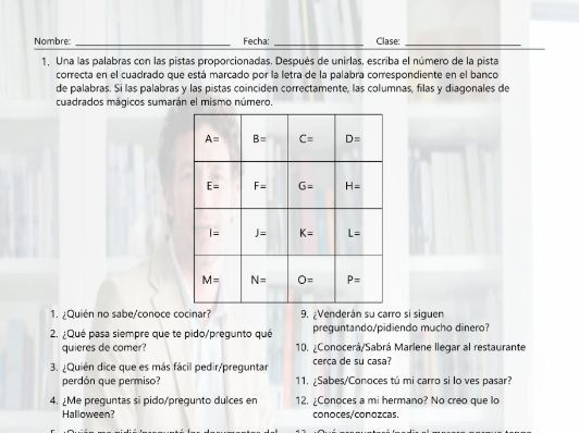 Conocer Saber Pedir And Preguntar Magic Square Spanish