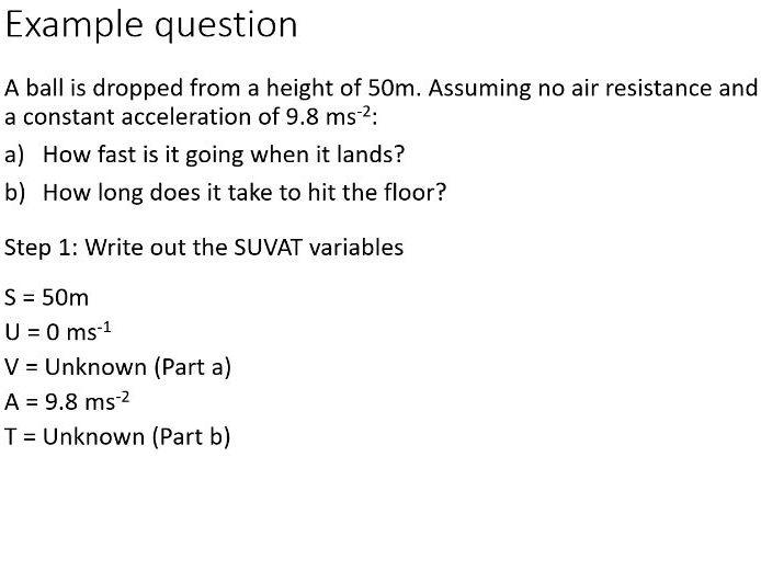 BTec Engineering - SUVAT Kinematic Principles  (PowerPoint + Worksheet)