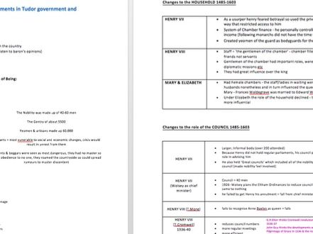 Changes in Governance at the Centre Notes - TUDORS A Level History PAPER 3