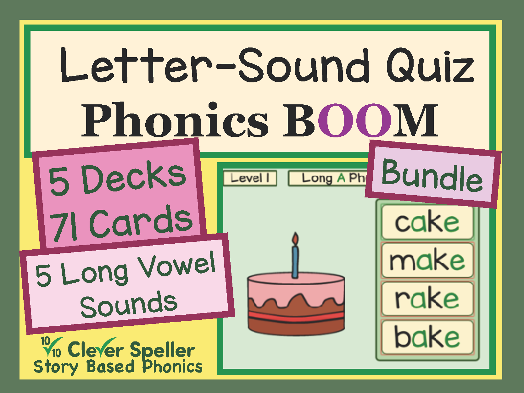 Phonics Practice Boom Cards Long Vowel Sounds Level 1