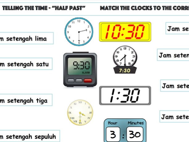 """Telling the Time in Indonesian """"Half Past"""" the Hour"""