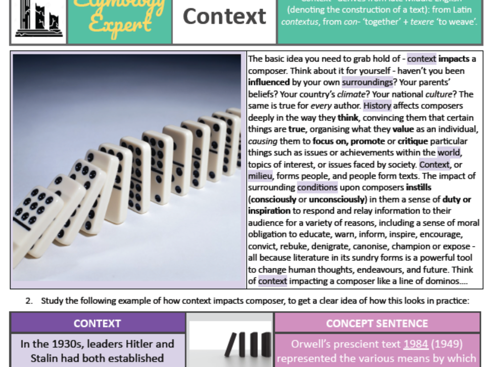IBDP HSC AP English Language Literature Context 1984 Orwell CONTEXT PHRASING EXERCISE 1 FREE
