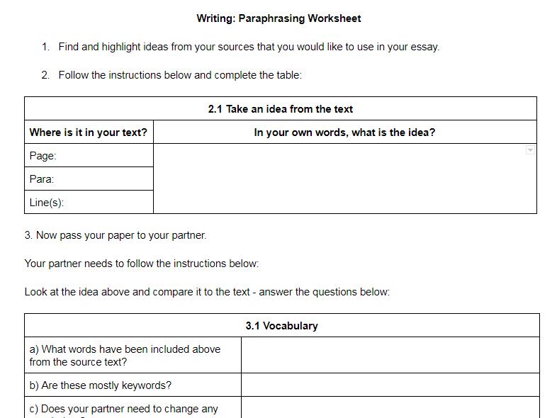 Eap Paraphrasing Worksheet Step By Step Upper