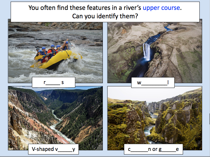 Rivers - Identifying characteristics of the three stages of a river