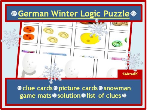German Puzzle for Winter / Christmas: problem solving, thinking skills