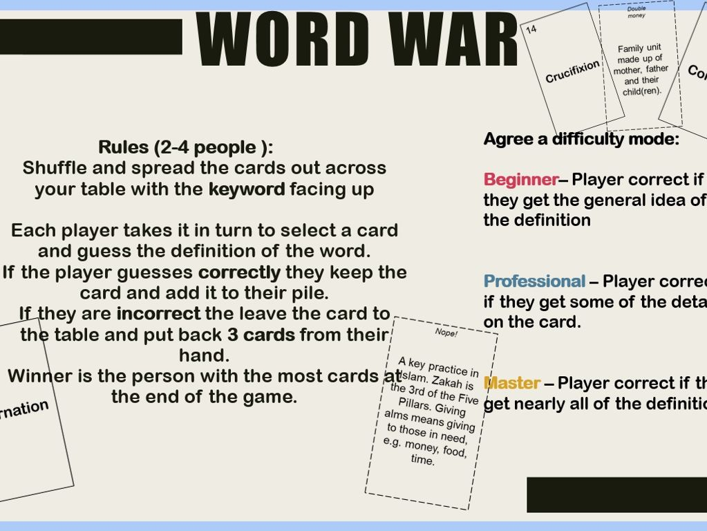 AQA GCSE RS Theme B,D,E Revision Card Game Key Words