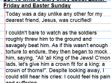 Year 6 Diary entry on the Easter story