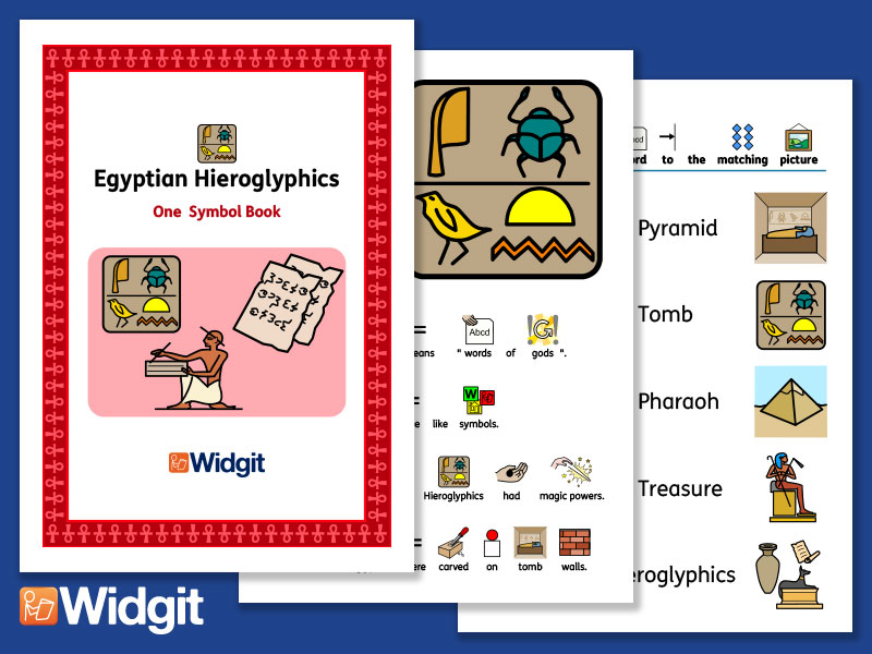 Egyptian Hieroglyphics - History Book and Activities with Widgit Symbols