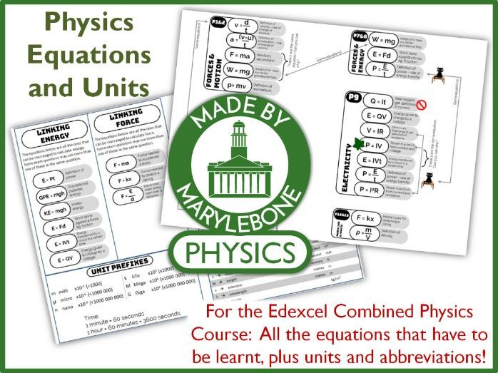 Equations, Units and Abbreviations - A revision helper - Edexcel GCSE 9-1 Combined Physics