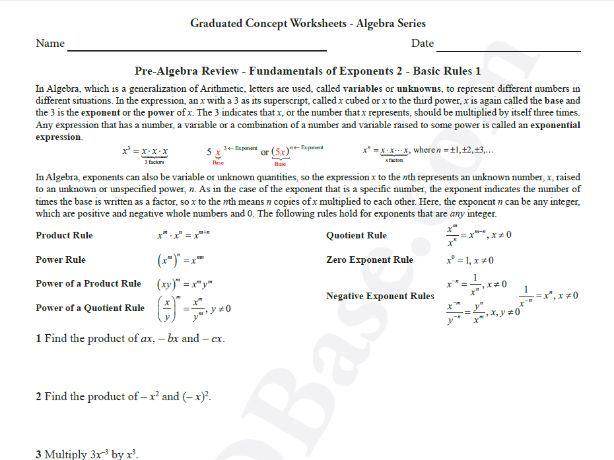 Basic Algebra Worksheet 7 - Pre-Alg Rev. - Fundamentals of Exponents 2 - Basic Rules 1