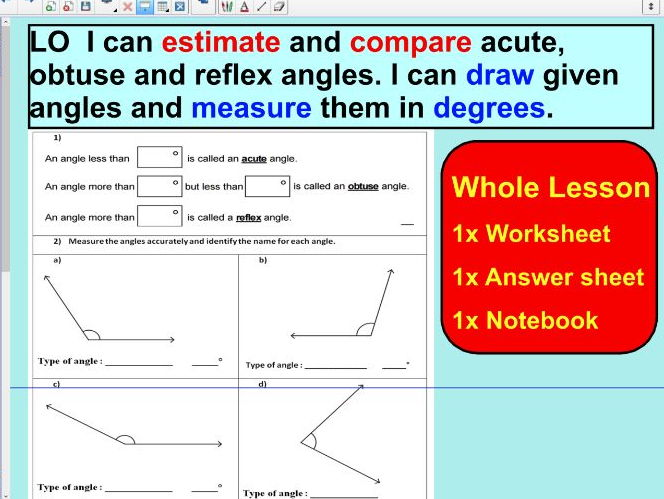 Drawing angles and measuring angles using a protractor - ks2 year 5 & 6 - WHOLE LESSON