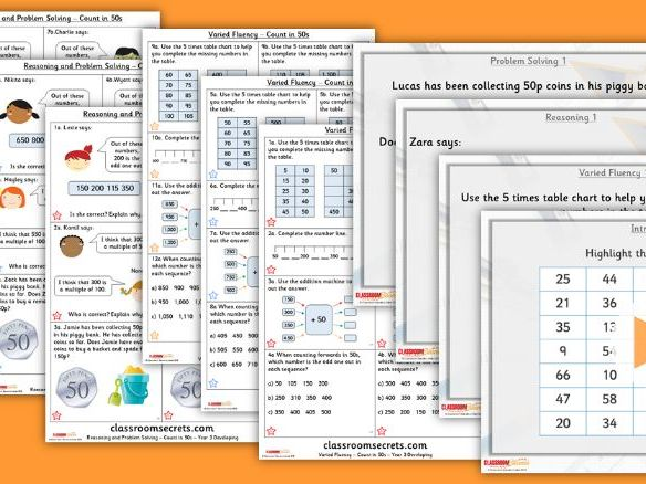 Year 3 Counting in 50s Autumn Block 1 Step 10 Lesson Pack