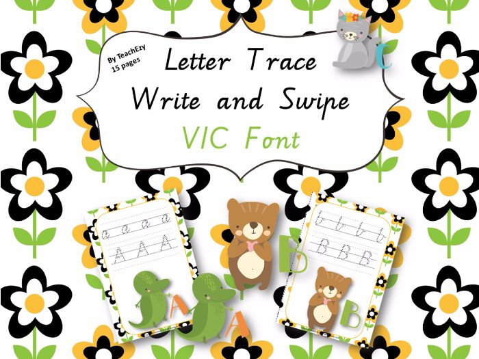 Letter Trace Write and Swipe VIC Font