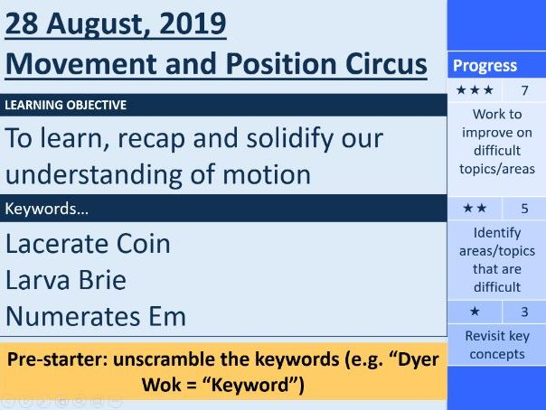 Movement and Position Revision Carousel / Circus (GCSE Physics)