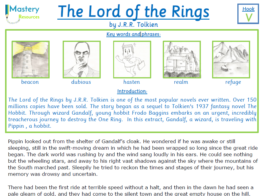 The Lord of the Rings by J.R.R Tolkien Comprehension KS2