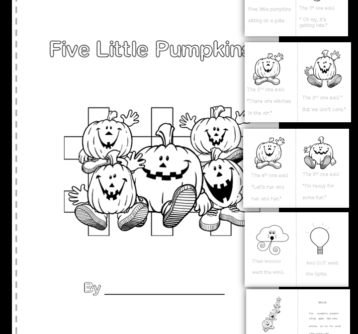 Five Little Pumpkins Colour And Trace Booklet