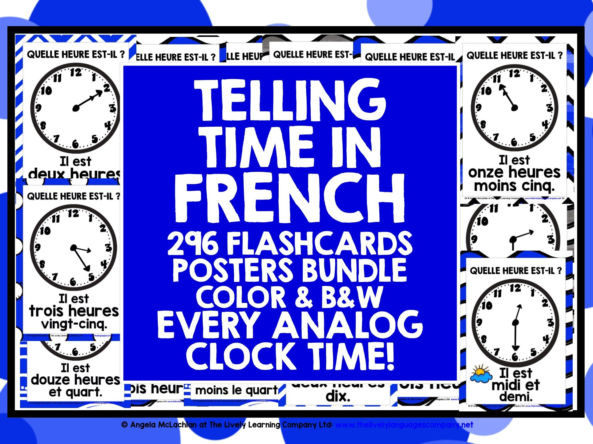ELEMENTARY FRENCH TELLING TIME FLASHCARDS POSTERS