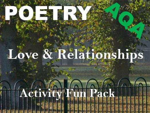 AQA Love and Relationships Poetry Activity Fun Pack - Quiz, Crossword, Wordsearch, Revision