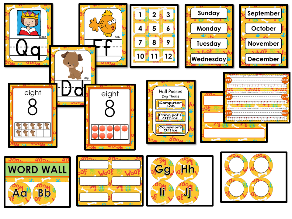 Classroom Decor Editable - Dog Theme
